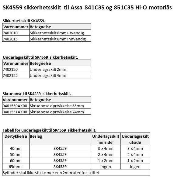 SK4559 sikkerhetsskilt for Assa motorlås (35)